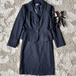 Ann Taylor Black Tweed Blazer & Skirt Suit